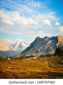 Mount Bastille from the Jumbo Pass hiking trail in fall, Purcell Mountains, British Columbia, Canada