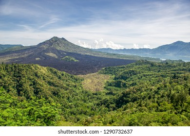 Mount Batur viewed from Kintamani in Bali. Mount Batur is 1717 meters high and an active volcano, which last erupted in 2000.