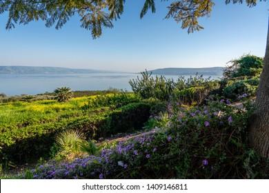 Mount of Beatitudes on the Sea of Galilee (Lake Tiberias) where Jesus delivered the Sermon on the Mount.