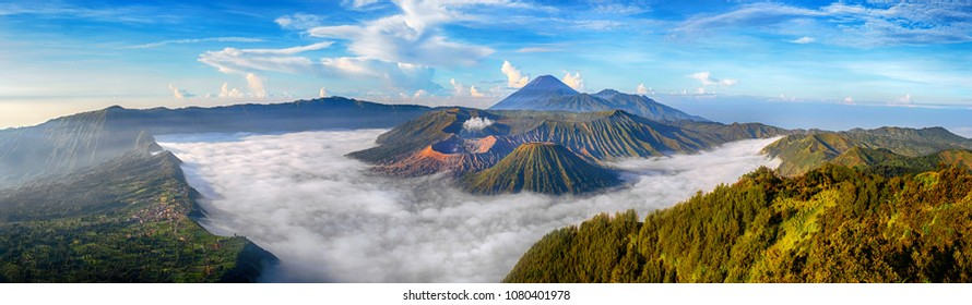 Mount Bromo is an active volcano and one of the most visited tourist attractions in East Java, Indonesia. Panorama Bromo