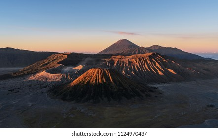 Mount Bromo volcanic in sunrise, famous travel destination and tourist attraction in Indonesia
