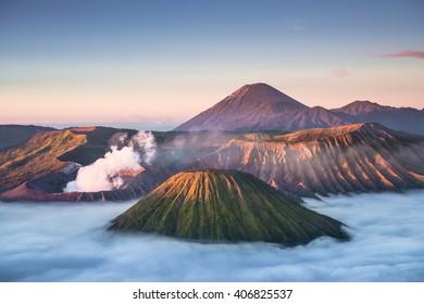Mount Bromo volcano during sunrise with Batok and Semeru mountain, located in Bromo Tengger Semeru National Park, East Java, Indonesia.