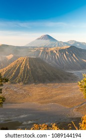 Mount Bromo volcano (Gunung Bromo) during colorful sunrise from viewpoint on Mount Penanjakan in Bromo Tengger Semeru National Park, East Java, Indonesia
