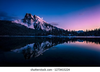 Mount Burgess reflected in Emerald Lake at night, Yoho National Park, British Columbia, canada