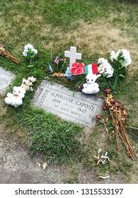 Mount Carmel Catholic Cemetery, Hillside, IL - 06.10.2018: Grave of Al Capone