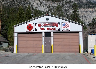 Mount Charleston Nevada USA March Fourth 2014. The Mount Charleston Volunteer Fire Department Of Clark County Nevada's Firehouse.