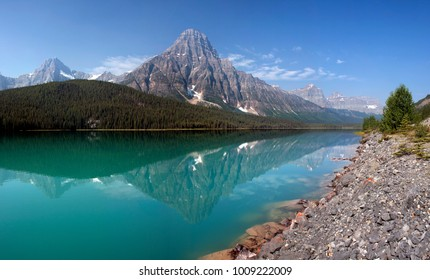 Mount Chephren reflection into Waterfowl Lake, Located about 35 Miles north of Lake Louise on the Jasper Highway, in Banff National Park, Alberta, Canada