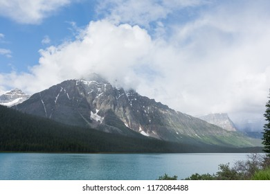Mount Chephren and Waterfowl Lake seen from the Icefields Parkway