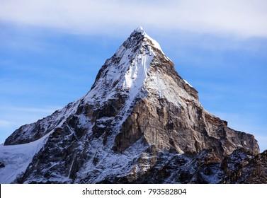 Mount Cholo or Chola, beautiful mount in Gokyo valley, Sagarmatha national park, Khumbu valley, Nepal Himalayas