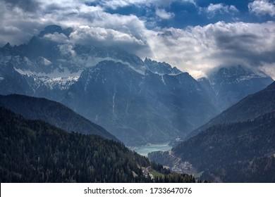 mount Civetta and lake Alleghe