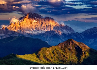 Mount Civetta on fire at sunset