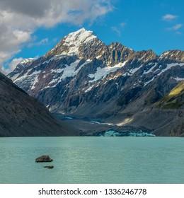 Mount Cook (Aoraki) rising above the Hooker Valley glacier lake.
