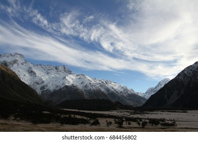 Mount Cook with frost grass field view from Tasman Valley, Southern alps, South NZ, South Island, Canterbury region, UNESCO world heritage sites, popular tourist destination