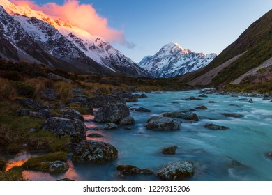 Mount Cook and Hooker River in the dawn at Aoraki Mount Cook National Park, Canterbury, New Zealand