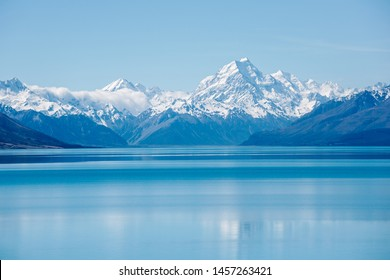 Mount Cook landscape reflection on Lake Pukaki, the highest mountain in New Zealand and popular travel destination