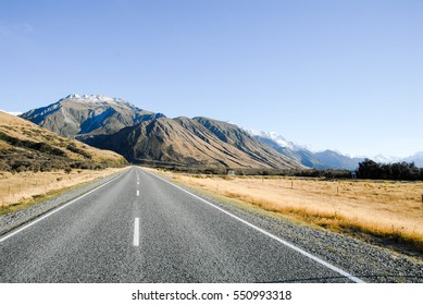 Mount Cook Road (State Highway 80)  in Autumn Morning , New Zealand