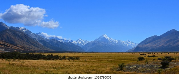 mount cook and spectacular glaciated mountain  scenery on a sunny day in summer  on the way to  mount cook village on the south island of new zealand