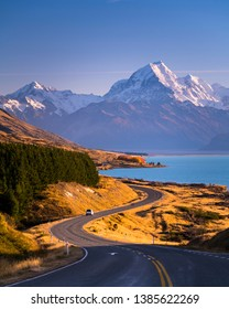 Mount Cook standing high above the blue waters of Lake Pukaki in New Zealand's South Island.