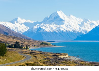 mount cook viewpoint with the lake pukaki and the road leading to mount cook village. Taken during summer in New Zealand.