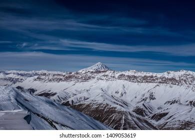 Mount Damavand, an active volcano, the highest peak in Iran and the highest volcano in Asia.