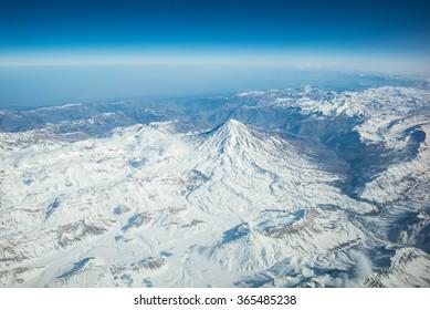 Mount Damavand, Iran, - Aerial view