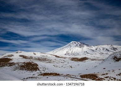 Mount Damavand in Winter, view from south east
