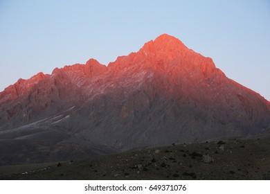Mount Demirkazik at Aladaglar National Park in Nigde, Turkey. Mount Demirkazik is the highest mountain in Aladaglar.