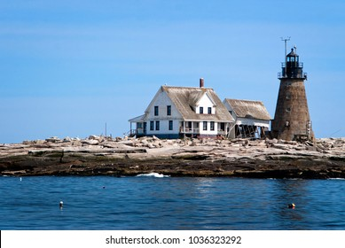 Mount Desert Rock lighthouse, is the most remote island lighthouse in Maine. The stone lighthouse tower survives constant New England storms. It is used as a weather station and wildlife refuge.