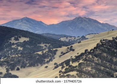 Mount Diablo as seen from the summit of Round Valley Regional Preserve on a summer sunset. Contra Costa County, California, USA.