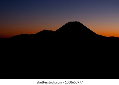 Mount Doom before the sunrise in the morning as seen from Mount Ruapehu in New Zealand