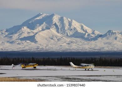 Mount Drum towers over a remote airfield near Glennallen, Alaska