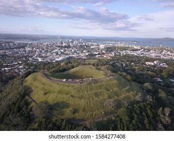 Mount Eden, Auckland / New Zealand - December 10, 2019: The Legendary Volcano location of Mount Eden and the skyline of Auckland