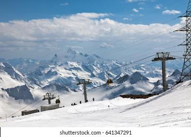 Mount Elbrus, cable car to the ski station of Gara-Bashi (3.840 m.). View of the Caucasian ridge.