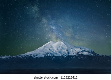 mount Elbrus and the milky way