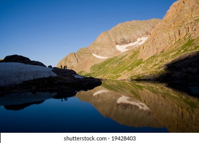 Mount Eolus reflecting in Twin Lakes