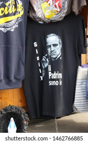 Mount Etna - Italy / July 24, 2019. A souvenir in the shops around the cableway station on Mount Etna: a T-shirt with the Godfather (Marlon Brando)