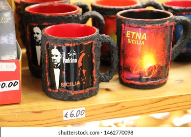 Mount Etna - Italy / July 24, 2019. A souvenir in the shops around the cableway station on Mount Etna: a coffee mug with the Godfather (Marlon Brando)