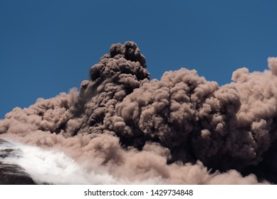Mount Etna Volcano Erupts, Volcanic Ash Clouds & Steam Develop. Catania, Sicily, May 2019