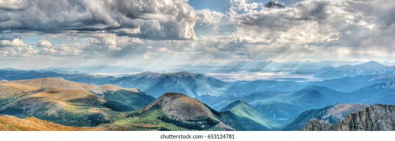 Mount Evans in Colorado on a clear day with gathering clouds