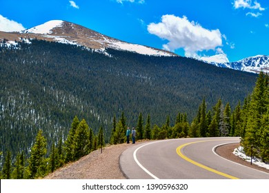 Mount Evans Scenic Byway, Colorado / USA - 27 April 2019 Curvy road and beautiful scenery mark this highway leading to Mount Evans.