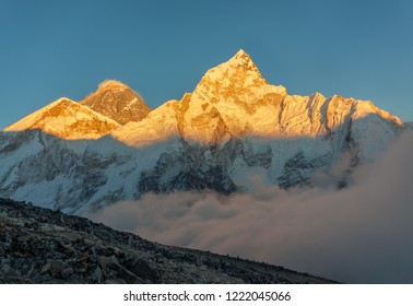 Mount Everest (8848 m) and Nuptse. Evening view from slope of Kala Patthar - Nepal, Himalayas