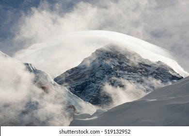 Mount Everest with clouds from Everest base camp