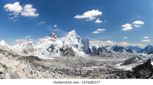 Mount Everest, himalaya, panoramic view from Kala Patthar of himalayas mountains with beautiful sky and Khumbu Glacier - way to Everest base camp, Khumbu valley, Sagarmatha national park, Nepal