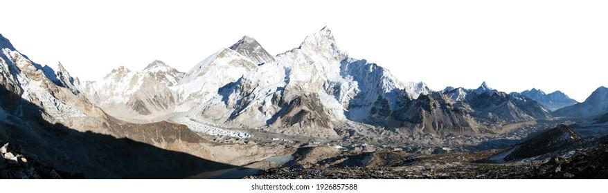 Mount Everest, Lhotse and Nuptse from Kala Patthar isolated on white, panoramic view of himalayas mountains, way to Everest base camp, Khumbu valley, Sagarmatha national park, Nepal Himalaya mountain