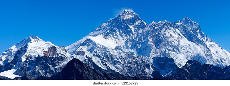 Mount Everest with Lhotse, Nuptse and Pumori