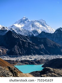 Mount Everest, Lhotse and Nuptse seen from Renjo La pass above Gokyo and Gokyo Lake.