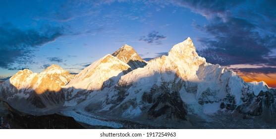 Mount Everest and Nuptse, himalaya, evening panoramic view with beautiful sunset clouds from Kala Patthar, Sagarmatha national park, Khumbu valley, Solukhumbu, Nepal Himalays mountains