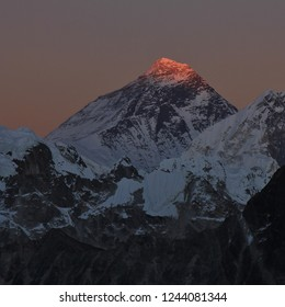 Mount Everest, Nuptse and Lhotse at sunset. View from Gokyo Ri.