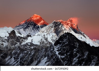 Mount Everest, Nuptse and Lhotse at sunset, from Gokyo Ri, Nepal Himalaya