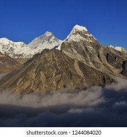 Mount Everest seen from a place in the Gokyo Valley, Nepal. Sea of fog.